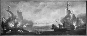 Zeegevecht tussen Hollandse  en Spaanse oorlogsschepen en galeien