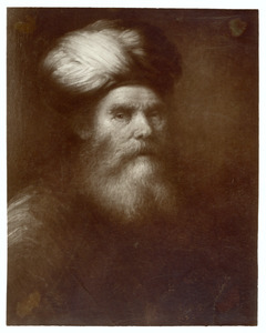 Kop van een baardige oude man met tulband