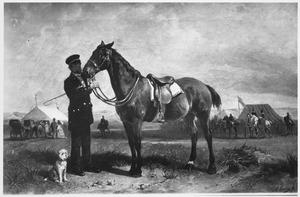 Man met hond en paard