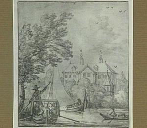 Riviergezicht met landhuis