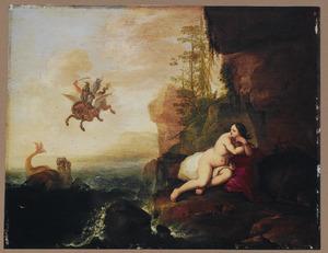 Perseus bestrijdt het zeemonster, dat Andromeda belaagt