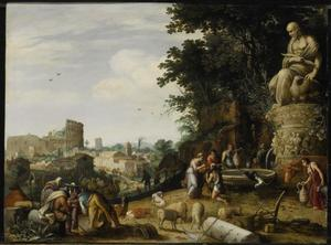 Fantasiegezicht op Rome met Eliezer, die van Rebekka bij de bron te drinken krijgt uit haar kruik  (Genesis 24:11-21)