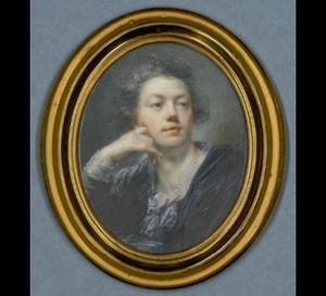 Zelfportret van Heinrich Friedrich Füger (1751-1818) in een zwarte jas