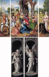 Drieluik met de aanbidding van de Wijzen (middenpaneel); de H. Joris (binnenzijde linkerluik); de stichter en de H. Margaretha (binnenzijde rechterluik); de annunciatie (buitenzijde luiken)