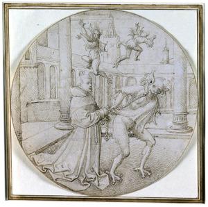 De Heilige Bernardus van Clairvaux met een geketende duivel op de binnenplaats van een klooster