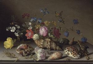 Bloemstilleven met schelpen en insecten