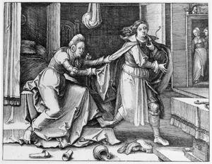 Jozef door de  vrouw van Potifar  belaagd (Genesis 39:12-13)