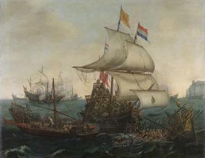 Hollandse schepen overvaren Spaanse galeien onder de Engelse kust, 3 oktober 1602