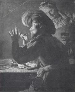Cavalier steekt zijn pijp aan terwijl een vrouw zijn glas vult