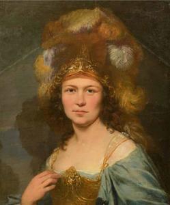 Portret van een vrouw als Minerva