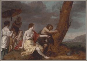 Paris en Oenone  krassen hun naam in de boom