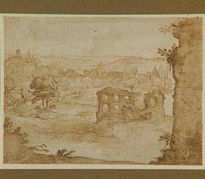 Gezicht op Rome vanuit het zuid-oosten, in het midden de Cestius-pyramide bij de Porta S. Paolo, links S. Paolo fuori le mura