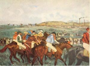 Amateur-jockeys voor de start