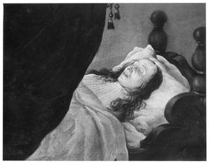 Portret van Johanna van Beresteyn op haar sterfbed