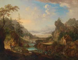 Bergachtig rivierlandschap met figuren op een pad