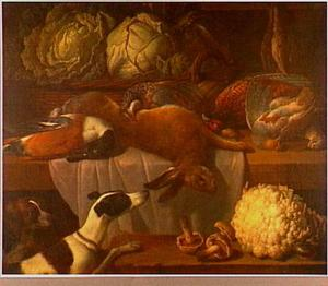 Jachtstilleven met groente; links twee honden