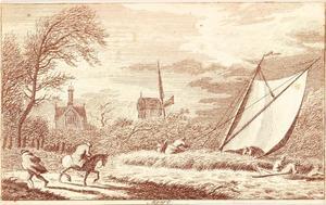 De maand maart, windmaand; scheepje vast  in het riet