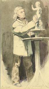 Portret van een beeldhouwer genaamd 'Bartorelli'