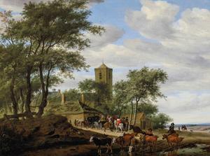 Landschap met vee en halthoudende ruiters bij een herberg