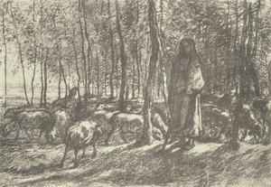 Herderin en haar kudde
