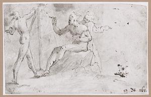 Schilder werkend aan zijn ezel, met manlijk naaktmodel