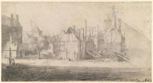 Afbraak van gebouwen bij het oude stadhuis van Amsterdam gezien vanaf de Nieuwezijds Voorburgwal