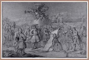 Koning Lodewijk XIV neemt het plan voor de bouw van het Hôtel des Invalides in ontvangst