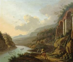 Italianiserend rivierlandschap met ruiters op een pad bij ruïnes