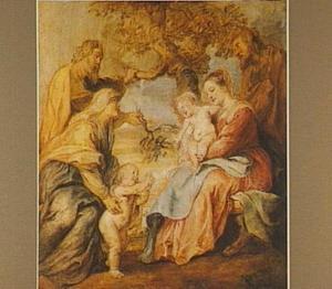 De heilige familie onder de appelboom bezocht door Johannes de Doper, Elizabeth en Zacharias