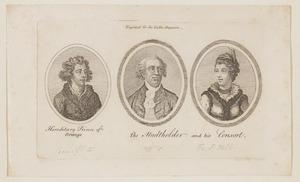 Portretten van koning Willem I (1772-1843), Willem V van Oranje-Nassau (1748-1806) en Wilhelmina von Preussen (1751-1820)
