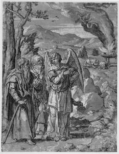 De engel  verkondigt Manoach en diens vrouw de geboorte van een zoon; op de achtergrond het offer van Manoach (Richeteren 13)