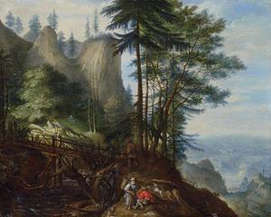 Bebost berglandschap met rustende boeren