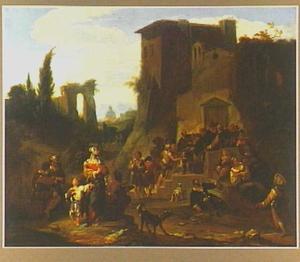 Soepuitdeling bij een klooster