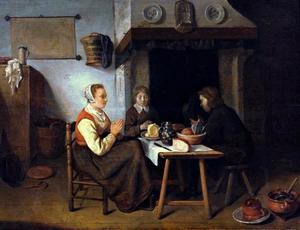 Interieur met biddende familie aan een tafel