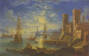Zuidelijk havengezicht met schepen en een vesting