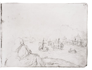 Rotslandschap met haven en fantasie-architectuur