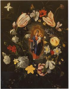 Bloemenkrans rondom een voorstelling van Maria met kind op de maansikkel
