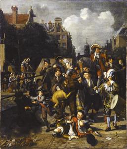 Amsterdams stadstafereel met berenleider