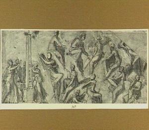 Studie van figuren rondom een obelisk, en van zittende engelen