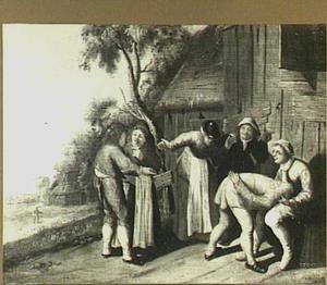 Gezelschap op een boerenerf speelt 'handjeklap'
