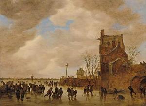 Winterlandschap met schaatsende en kolf spelende figuren op een bevroren rivier, rechts een poortgebouw