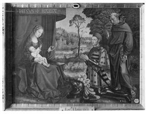 Maria met kind en de stichter Hernán Gómez Dávila met de H. Franciscus