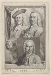 Portretten  van Jacob Appel (1680-1751), Dirk Dalens (1688-1759) en Jan Wandelaar (1690-1759)