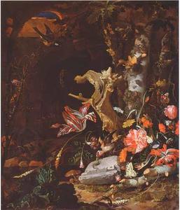 Bosstilleven met bloemen, insecten en vogels