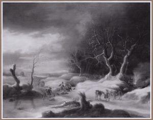 Winterlandschap met overval op reizigers