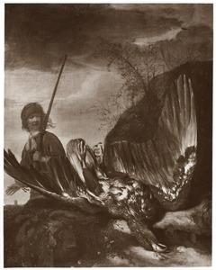 Jager en dode adelaar in een landschap