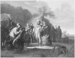 De zilveren beker wordt teruggevonden in de zak van Benjamin (Genesis 44:11)