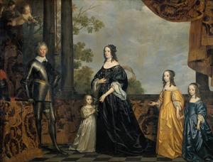 Groepsportret van Frederik Hendrik van Oranje-Nassau (1584-1647), Amalia van Solms (1602-1675) en hun drie jongste dochters