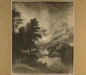 Bergachtig landschap met zeilschepen op een rivier