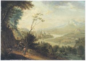 Uitgestrekt landschap met wandelaars en zicht op een rivierdal